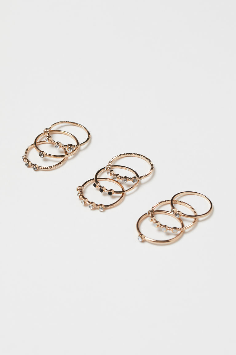 9-pack rings - Gold-coloured - Ladies | H&M IE