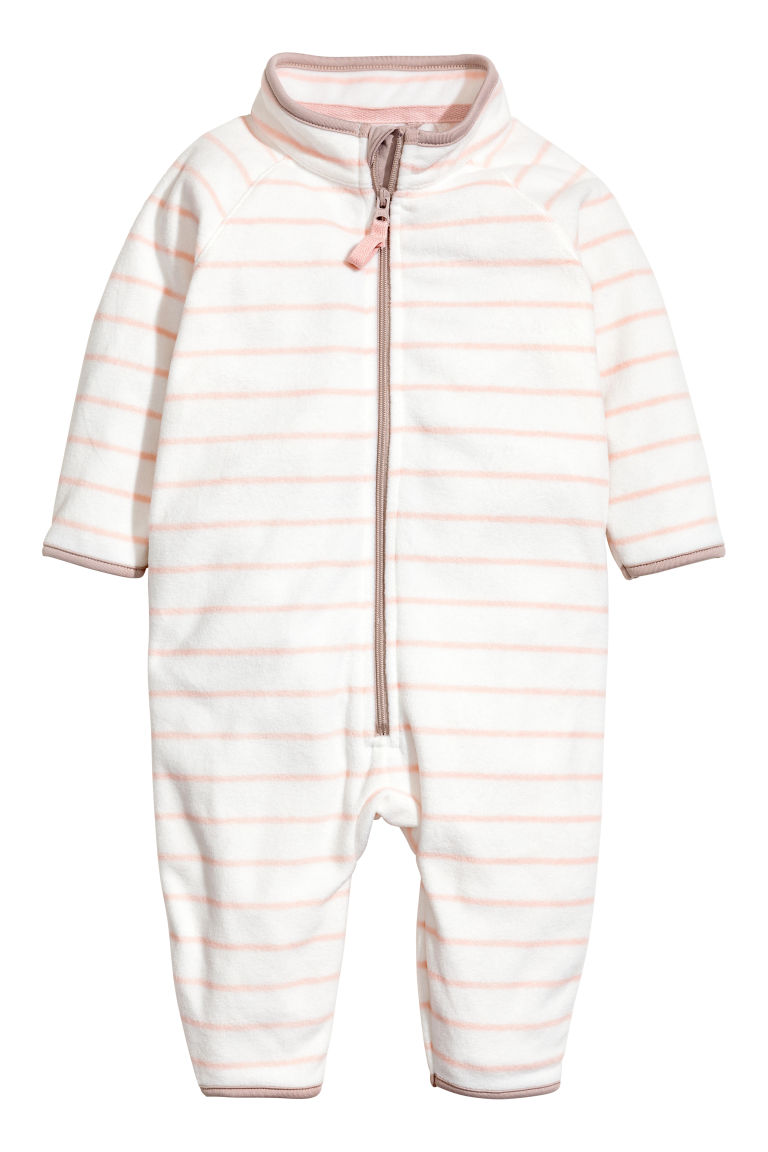 Fleece all-in-one suit - White/Light pink/Striped - Kids | H&M CN
