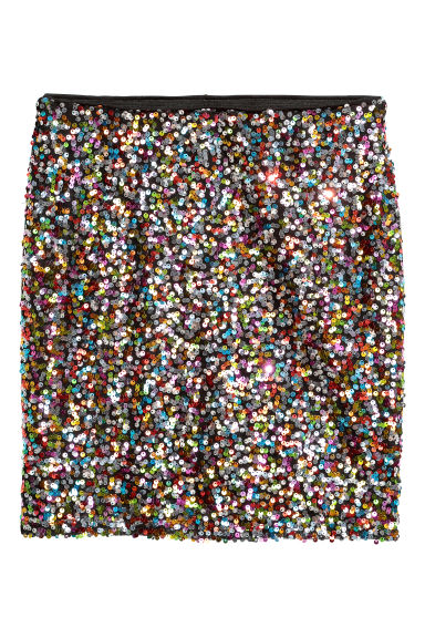 Glittery skirt - Black/Multicoloured - Ladies | H&M