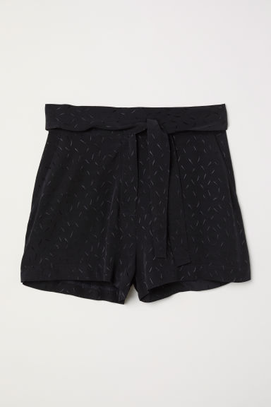 Jacquardgeweven short - Zwart - DAMES | H&M BE