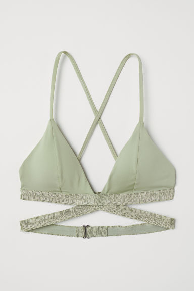 Triangle bikini top - Light khaki green - Ladies | H&M