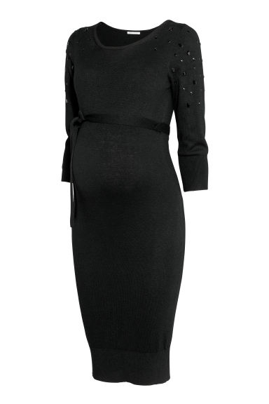 MAMA Fine-knit dress - Black -  | H&M