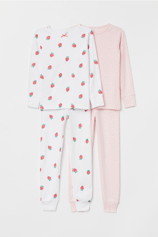 ee98ab31f 2-pack jersey pyjamas - White Raspberry - Kids