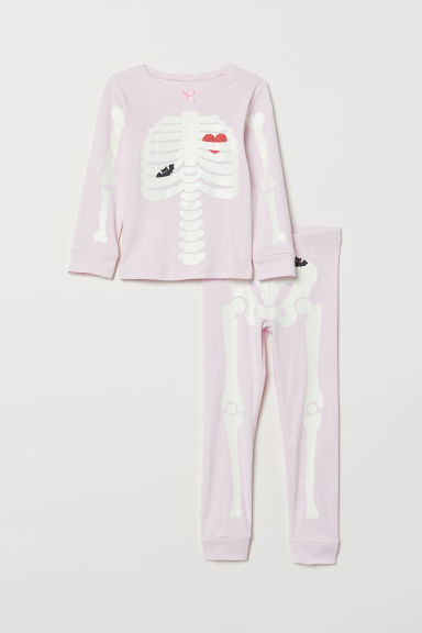 Jersey pyjamas - Light pink/Skeleton - Kids | H&M IE