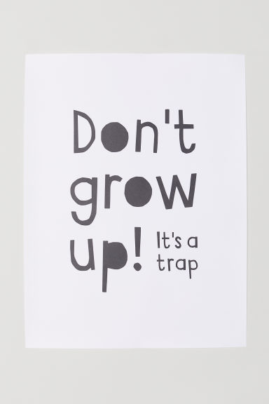 포스터 - 화이트/Don't Grow Up - Home All | H&M KR