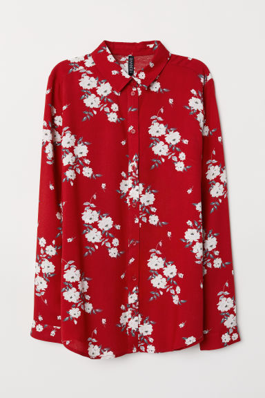 Viscose shirt - Red/Floral -  | H&M CN