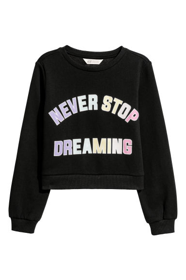 Printed sweatshirt - Black/Never Stop -  | H&M