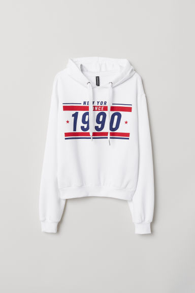 Printed hooded top - White -  | H&M