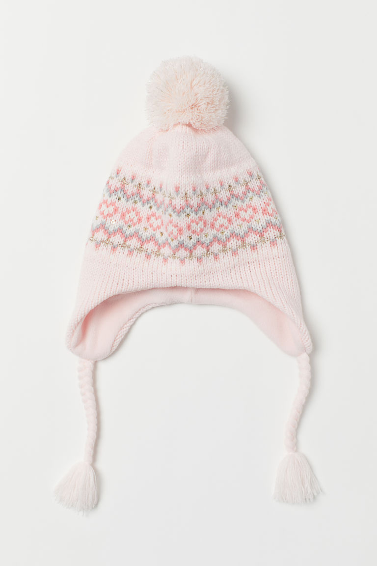 Hat with earflaps - Light pink/Patterned - Kids | H&M CN