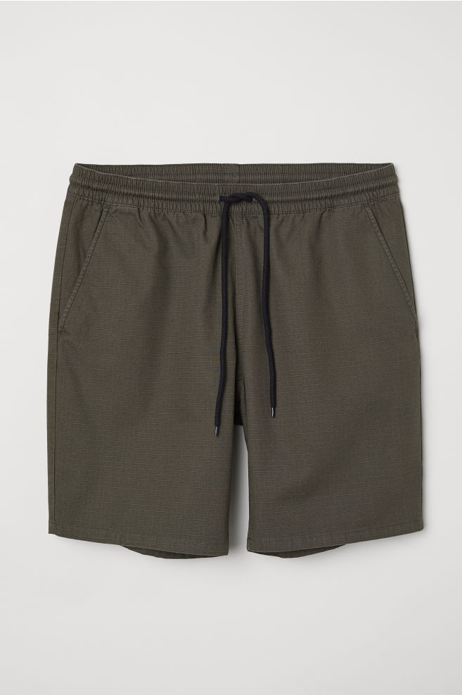 H&M Men's Textured-Weave Cotton Shorts (Black or Green)