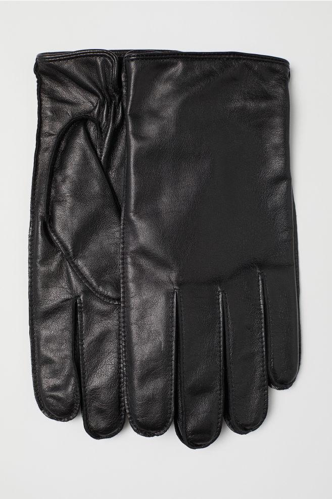 027d278c25f9 Leather smartphone gloves - Black - Men | H&M ...