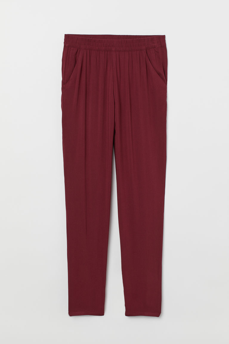 Pull-on trousers - Burgundy -  | H&M CN