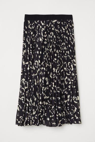Pleated skirt - Black/Patterned - Ladies | H&M CN