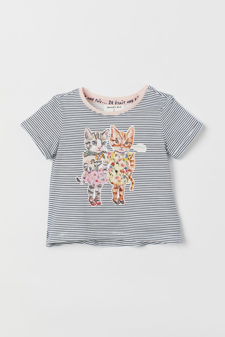 Printed top - Blue striped/Cats - Kids | H&M