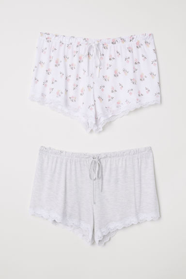2-pack pyjama shorts - White/Floral - Ladies | H&M CN