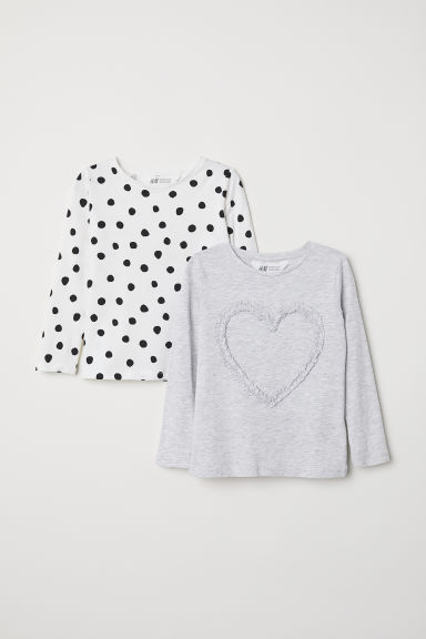 2-pack jersey tops - Light grey/White - Kids | H&M