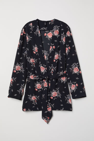Jacket with a tie belt - Black/Floral - Ladies | H&M CN