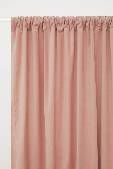 2-pack velvet curtain lengths - Light pink -  | H&M GB