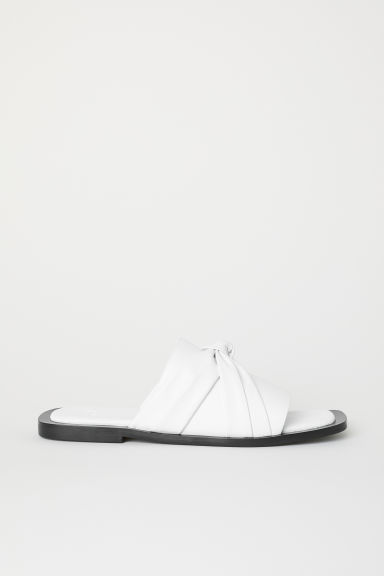 Leather slides - White -  | H&M CN