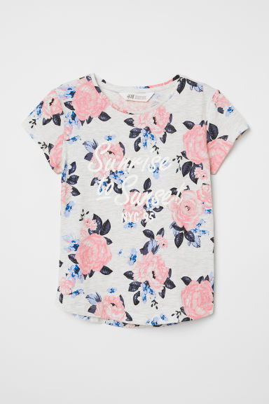Printed jersey top - Grey marl/Sunrise - Kids | H&M