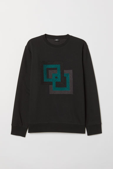 Sweatshirt with embroidery - Black - Men | H&M