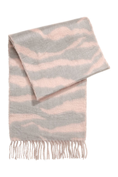 Large scarf - Pink/Light grey -  | H&M CN