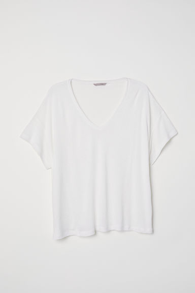 H&M+ Linen-blend T-shirt - Natural white - Ladies | H&M CN