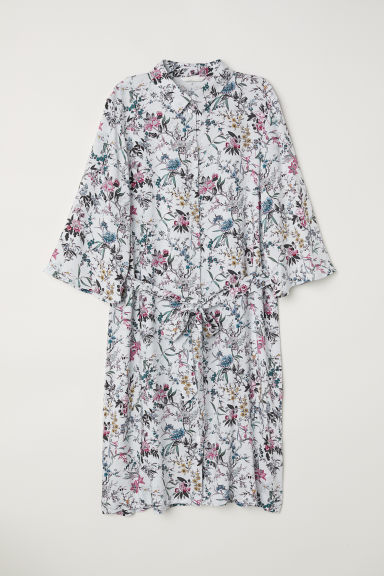 Shirt dress - Light blue/Floral -  | H&M CN