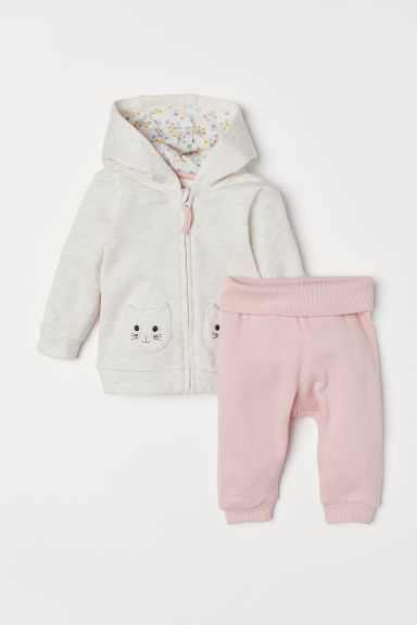 Hooded jacket and trousers - Light pink/Cats - Kids | H&M CN
