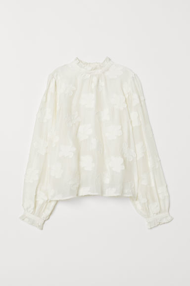 Jacquard-weave blouse - White - Ladies | H&M