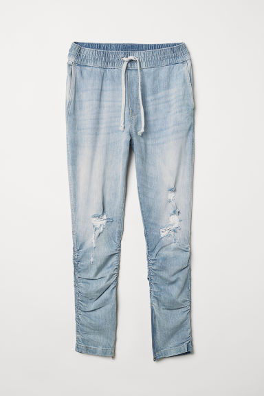 Slim Low Joggers - Light blue/Trashed - Men | H&M