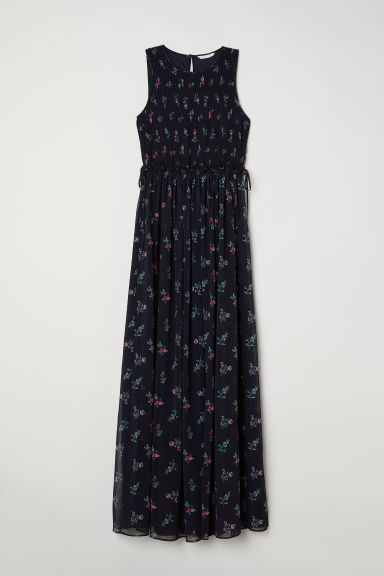 Long chiffon dress - Dark blue/Floral - Ladies | H&M
