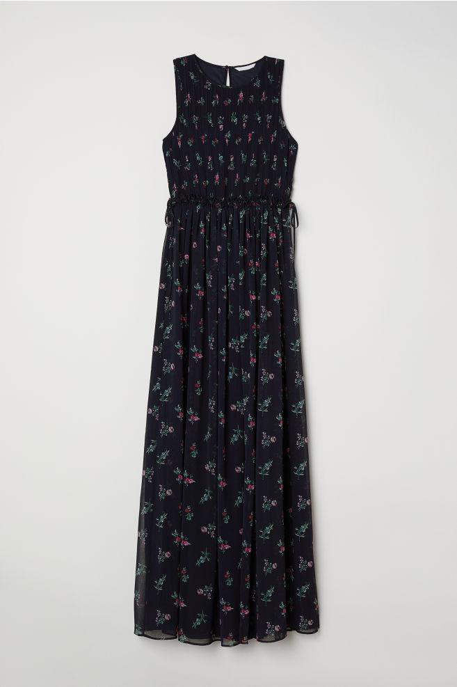 Robe Longue En Mousseline Bleu Fonce Fleuri Femme H M Fr