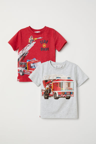2-pack T-shirts - Grey marl/Lego - Kids | H&M