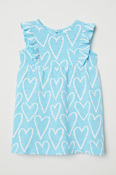 Patterned cotton dress - Light turquoise/Hearts - Kids | H&M