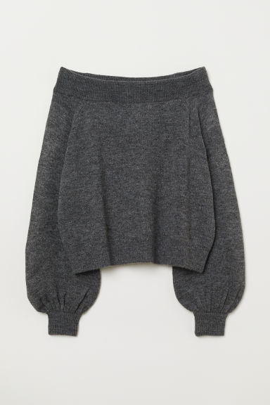 Off-the-shoulder jumper - Dark grey marl - Ladies | H&M CN