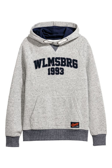 Printed hooded top - Light grey/Nepped - Kids | H&M