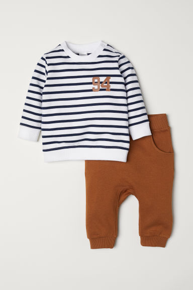 Sweatshirt and joggers - Brown/Striped - Kids | H&M