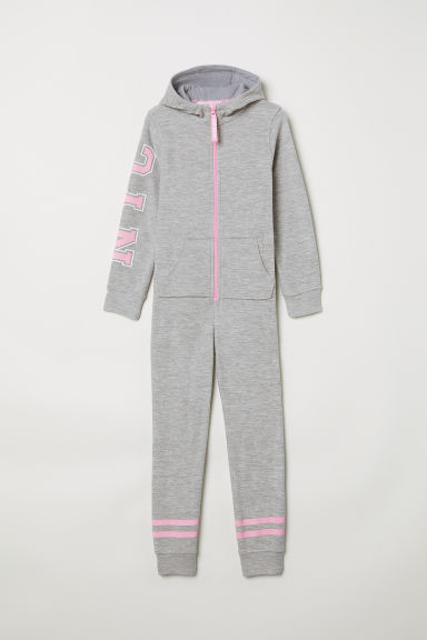 Fleece all-in-one suit - Light grey/NYC - Kids | H&M