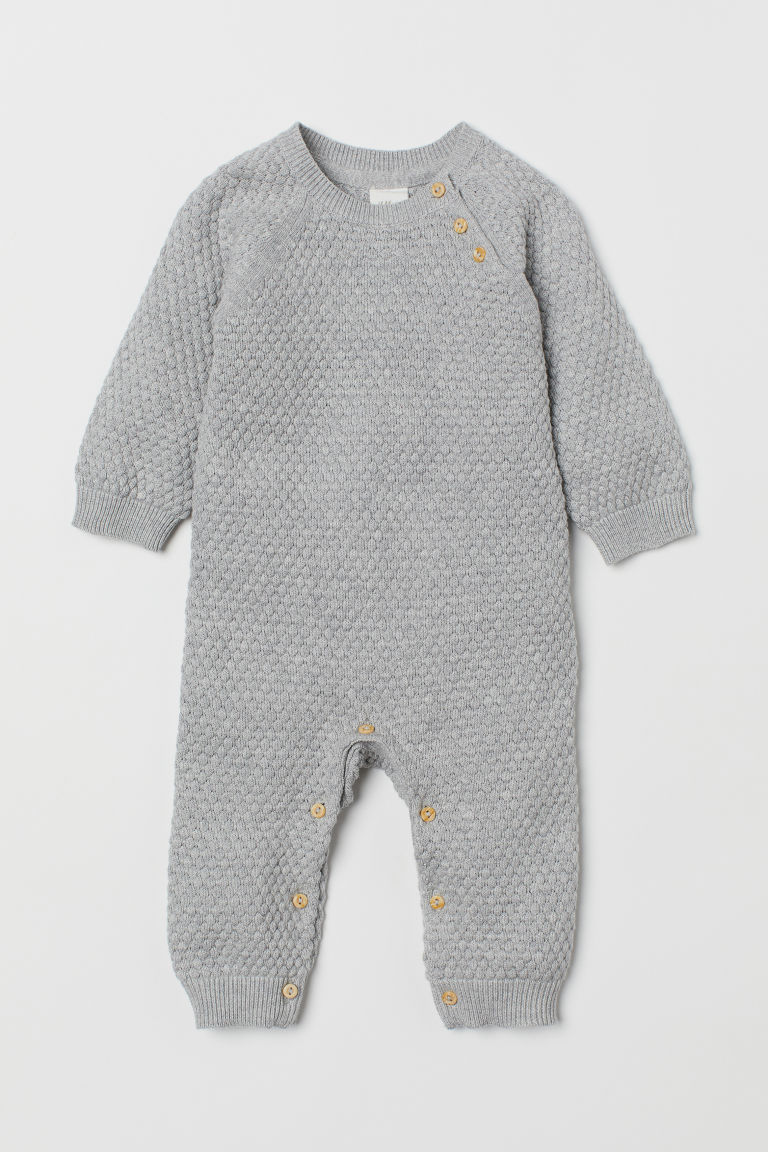 Textured-knit all-in-one suit - Light grey marl - Kids | H&M CN