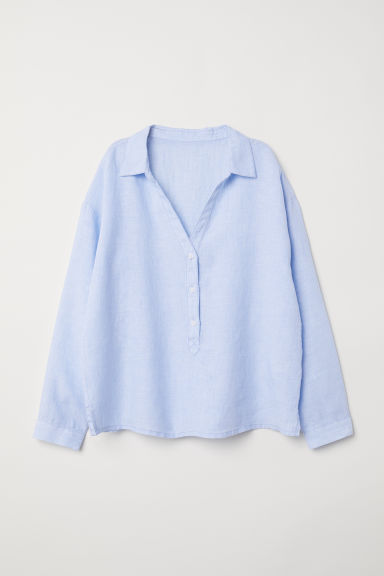 Linen pyjama shirt - Light blue/White striped -  | H&M