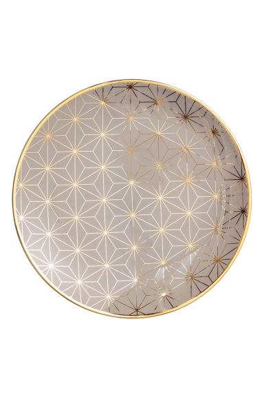 Small porcelain plate - Grey/Patterned -  | H&M IE