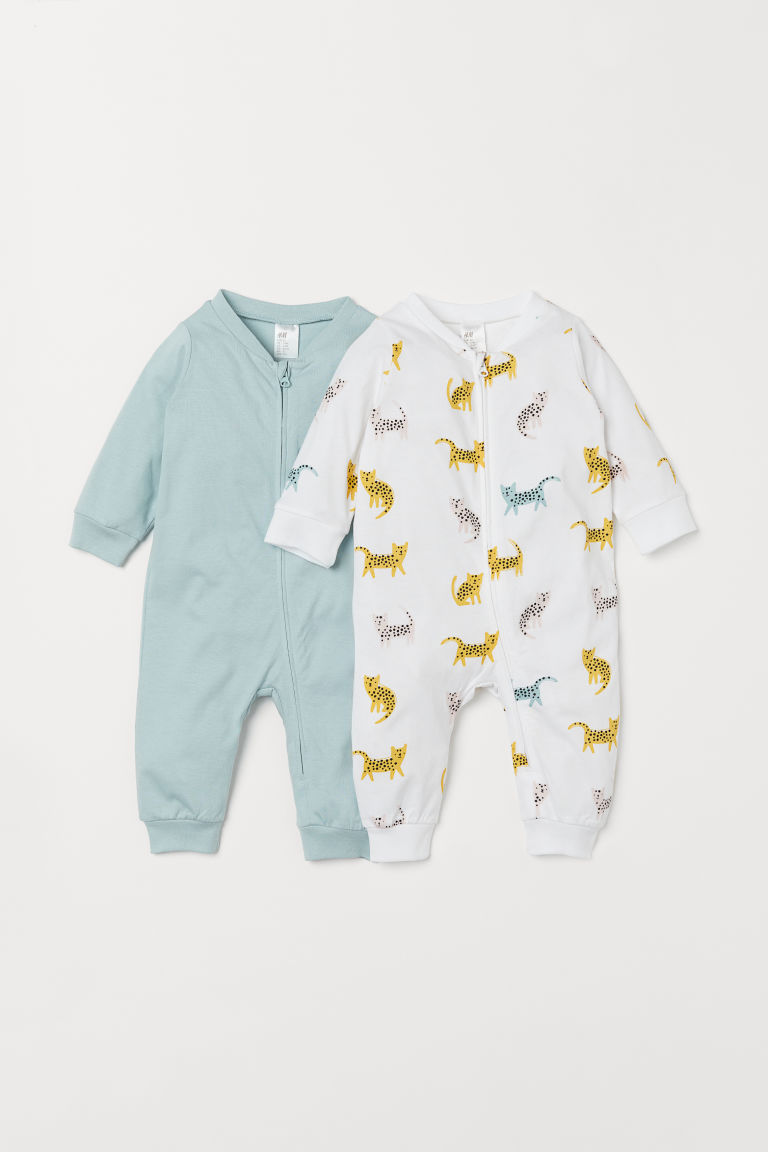 2-pack zip-up pyjamas - Light turquoise/Cats - Kids | H&M IN