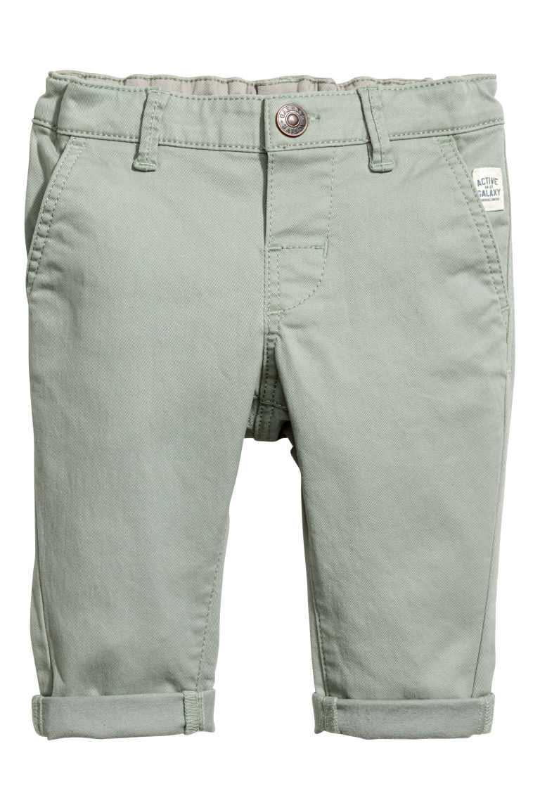 Stretch cotton chinos - Light khaki green - Kids | H&M CN
