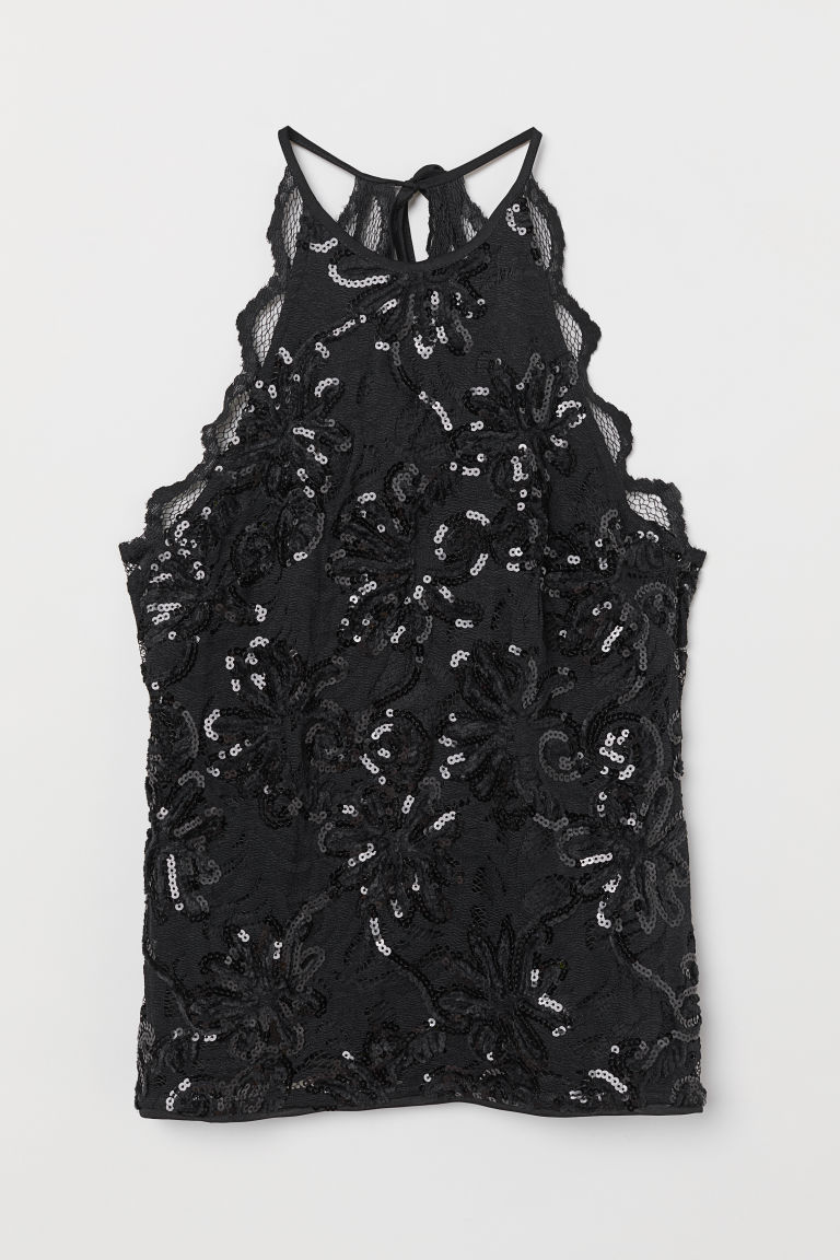 Sleeveless sequined lace top - Black - Ladies | H&M