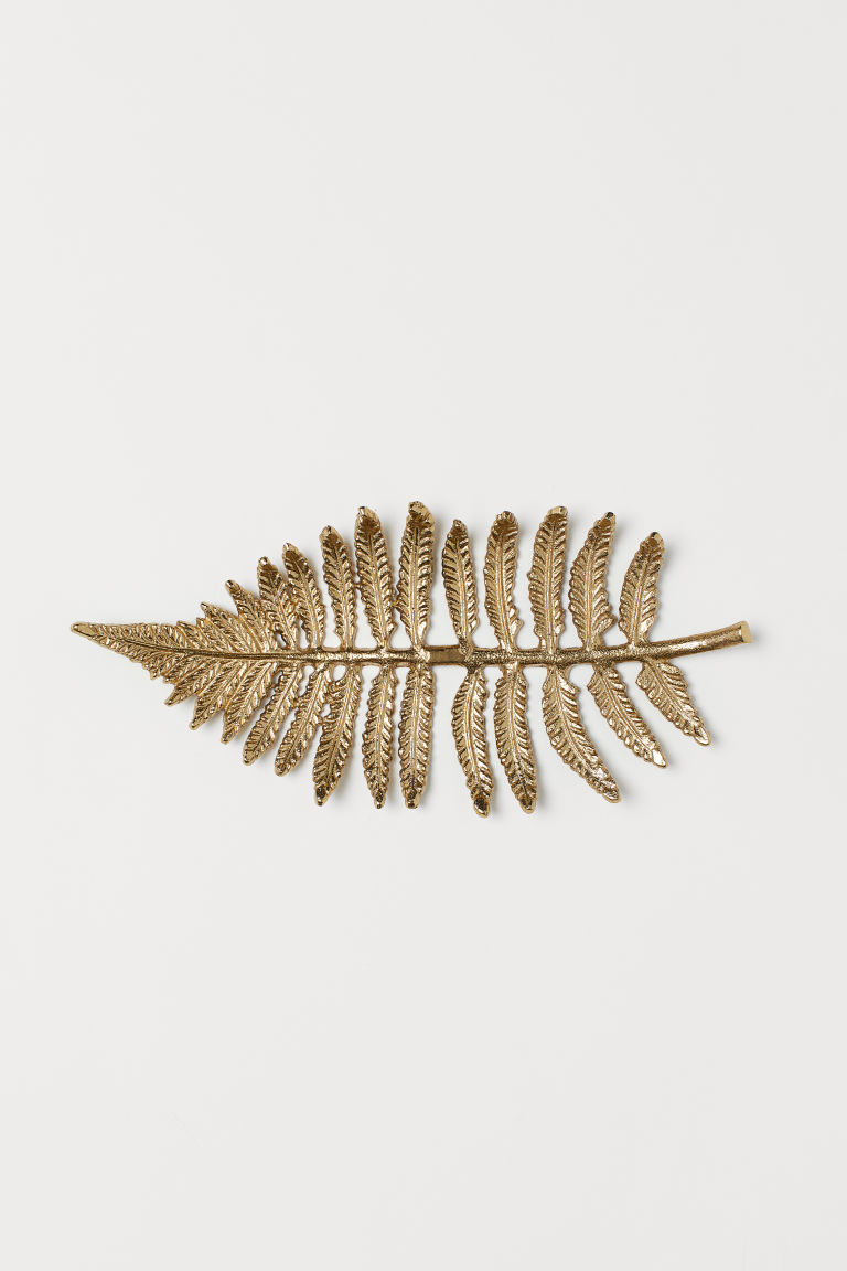 Leaf-shaped tray - Gold-coloured - Home All | H&M CN