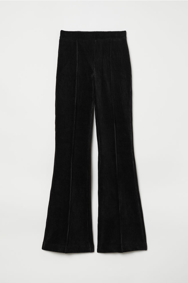 adcfe6d1225 Flared Corduroy Pants - Black - | H&M ...