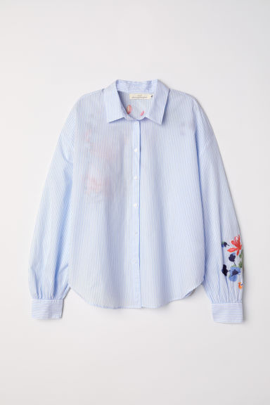 Cotton shirt with embroidery - Light blue/Striped - Ladies | H&M CN
