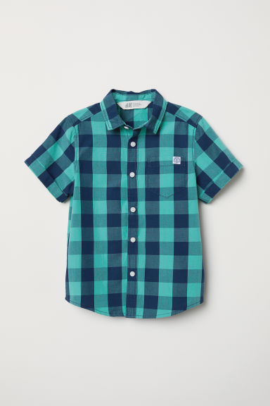 Cotton shirt - Light turquoise/Checked - Kids | H&M