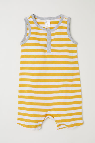 Sleeveless romper suit - Yellow/Striped - Kids | H&M CN